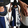 Bleu Electrique et Graphique : Robe <b>trapèze</b> Ecru/ bleu électrique/ Noire Tendance Femme 2015 Graphique & applications Stylisées