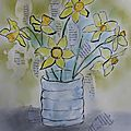 <b>Aquarelle</b> de printemps et mixed média