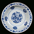 A <b>blue</b> <b>and</b> <b>white</b> porcelain plate decorated with azure monochrome, China, Ming Dynasty, 16th century