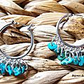 BO317 - Croles gypsy argentes et perles de turquoise