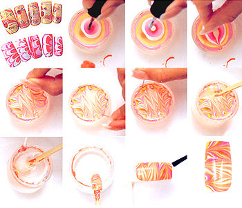 deco ongles water marble