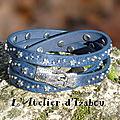 Bracelet triple tour constellation bleu fermoir boucle de ceinture martelé