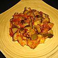 Wok de courgettes aux <b>oignons</b> et aux tomates cerise à la sauce aigre-douce