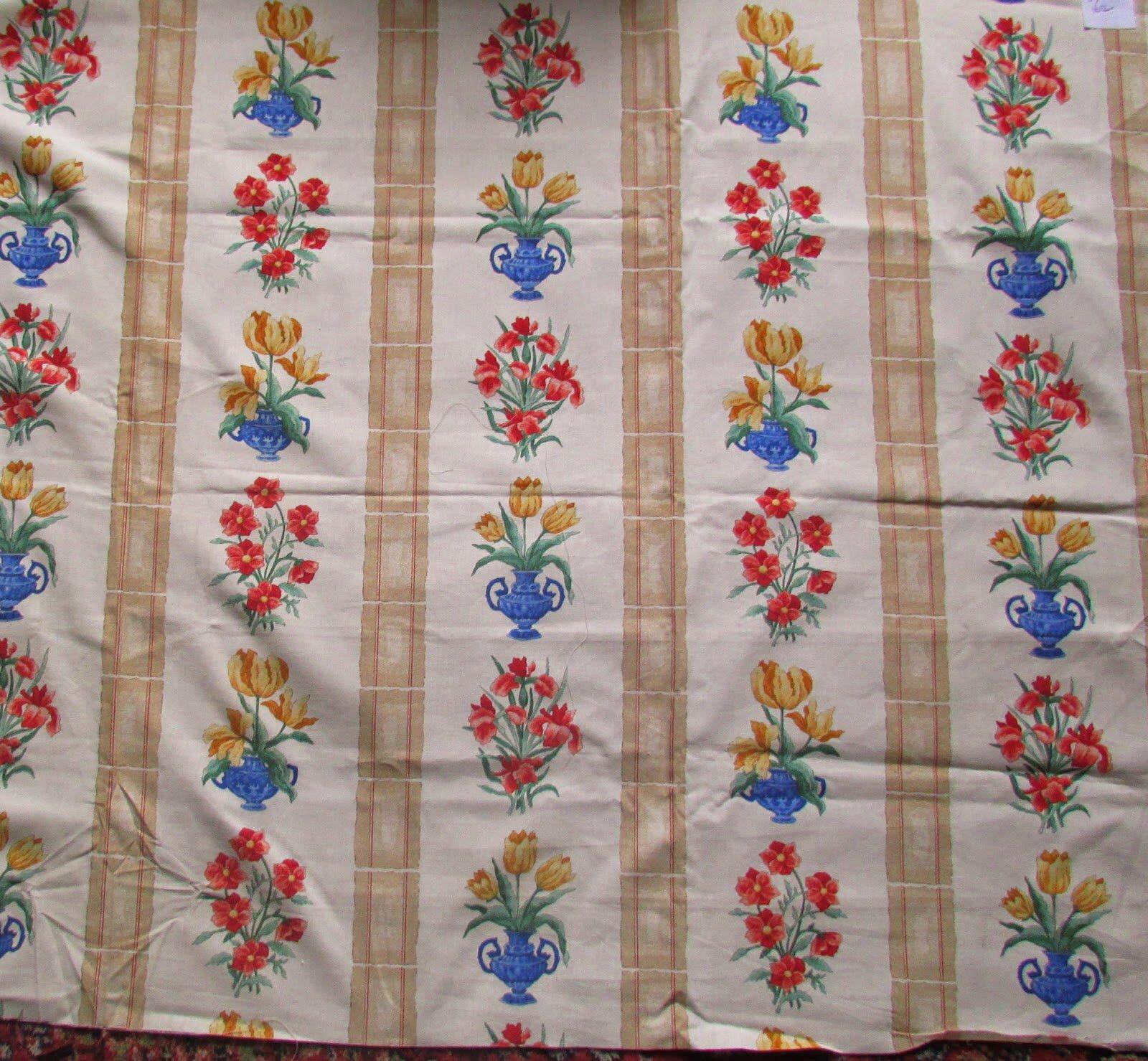 tissu vintage coton rideaux nappes rideaux largeur 170 cm vendu au metre ebay. Black Bedroom Furniture Sets. Home Design Ideas