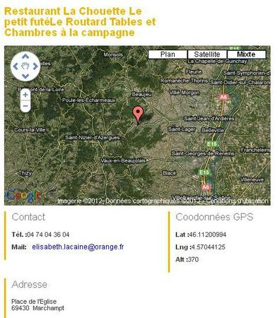 GPS Situation Auberge La Chouette - Adresses