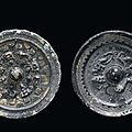 Two silver-plated bronze mirrors, <b>China</b>, Han Period (206 AC -220 DC)