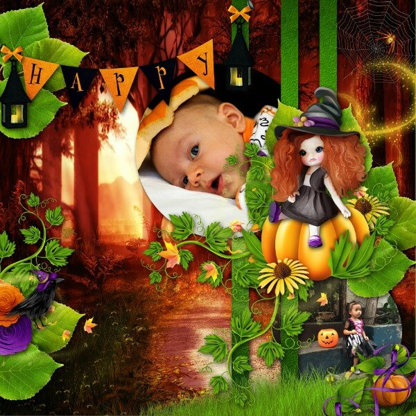 Scrap'Angie - sweet sorcery - template 3 pack 2 de Flomelle - photo Pixabay