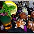 Moelleux au citron, thé matcha- schoko-bons-gingembre <b>confit</b>