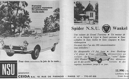 1967-Pub NSU (Action Automobile et Touristique Mai 67) Spider Wankel