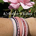 Octobre Rose - Bracelet manchette artisanal femme multirangs cuirs roses