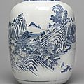A large blue and white 'Landscape' vase, Qing dynasty, <b>18th</b> <b>century</b>