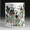 A '<b>Famille</b>-<b>Verte</b>' Cylindrical Brushpot, Qing Dynasty, Kangxi Period (1662-1722)