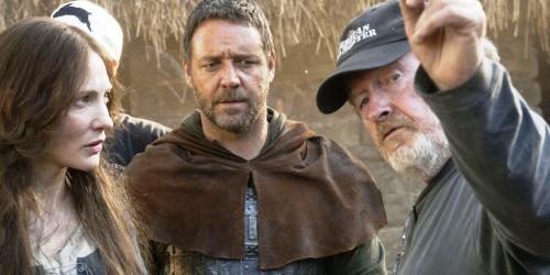 Kate Blanchet, Russel Crowe et Ridley Scott sur le tournage de Robin des Bois