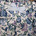 Culotte <b>BIANCA</b> en coton fleuri bleu et mauve - Noeud vichy ciel