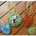 Collection Animaux/Nature : Collier Papillon, oiseaux et panda.