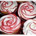 Roses cupcakes fourré nutella topping chantilly-<b>mascarpone</b>