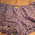 Culotte <b>BIANCA</b> en coton imprimé carrés bleu - Noeud jaune