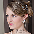 <b>Accessoire</b> de <b>coiffure</b> mariage pas cher : pic  chignon en spirale, fil argent et perle de nacre