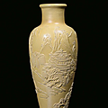 A yellow monochrome <b>biscuit</b> vase, China, Qing Dynasty, 19th century