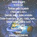 Participez à « <b>Poésie</b> pour la terre » vos participations MAJ 22/4/17