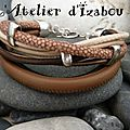 Un petit camaïeu marron de <b>cuirs</b> multitextures pour ce <b>bracelet</b> très moderne ! Bonnes vacances et à très bientôt !