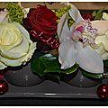 centre de table pour NOEL : fleurs naturelles et contenant chocolat