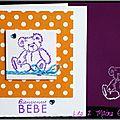 Carte de naissance <b>unisexe</b> avec ourson