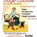 CrApule FActOry vous propose dès septembre des <b>cours</b> de <b>couture</b> et de Loisirs créatifs dès 8 ans à BELLEY 01300