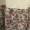 <b>RIDEAU</b> LIN ANCIEN TISSU DECOR DE ROSES ROUGE/FRENCH ANTIC LINEN SHEET CURTAIN/