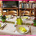 <b>Décoration</b> de table pour Pâques en rose & vert