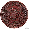 A very rare red lacquer <b>saucer</b>-<b>dish</b> of shallow form, China, early Ming dynasty (1368-1644), probably late 14th century.