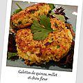Galettes de quinoa, <b>millet</b> et chou-fleur