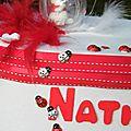 URNE POUR BAPTEME DE NATHAN, TON <b>ROUGE</b> ET <b>BLANC</b> (Petit Winnie personnalisé <b>rouge</b> et <b>blanc</b> pour etre en harmonie avec l'urne)
