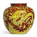 A very rare yellow-ground and <b>iron</b>-red decorated 'Dragon' jar, Mark and period of Jiajing