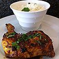 Cuisses de <b>poulet</b> en papillote ma...ison et riz au lait à la cardamome