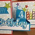 Deux cartes d'anniversaire pour enfants