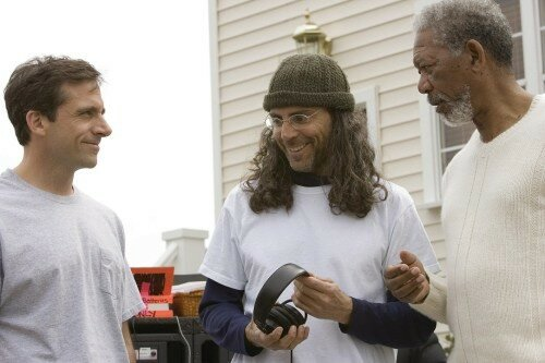 STEVE CARELL, le réalisateur/producteur TOM SHADYAC & MORGAN FREEMAN