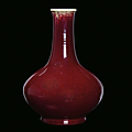 An oxblood red porcelain vase, China, Qing Dynasty, <b>19th</b> <b>century</b>