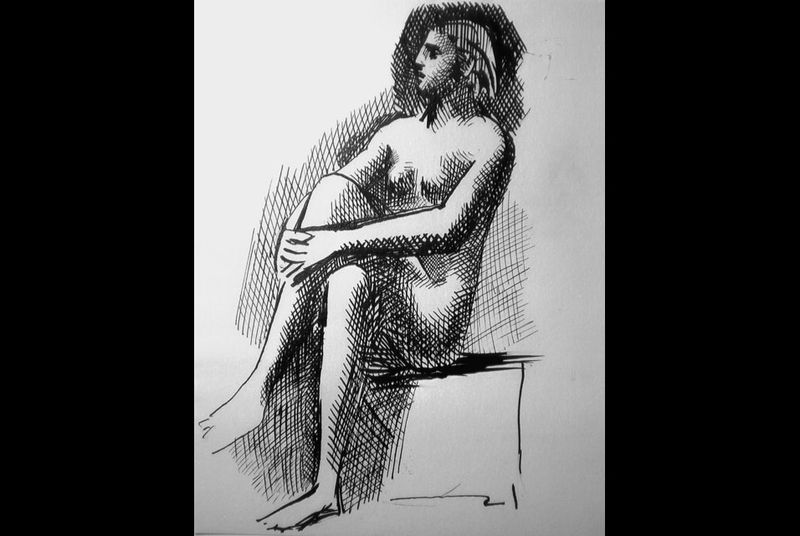 A drawing Nu Assis (Sitting nude) by Picasso. AP Photo/Succession Picasso.