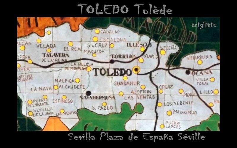 Toledo Tolède Artgitato Seville Plaza de España Carte