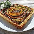 Tarte <b>spirale</b> aux légumes en croûte de riz