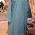 Une tunique longue <b>ADRIENNE</b> en lin bleu lagon...