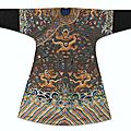 A magnificent and extremely rare imperial <b>blue</b>-ground semi-formal 'Dragon' robe with a gilt-diaper ground, jifu, Qing dynasty