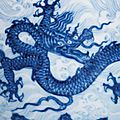 An extremely rare and superbly painted anhua-decorated <b>blue</b> and white 'dragon' stem bowl, Xuande mark and of the period