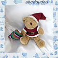 Doudou Peluche Ours Marron Assis Père Noel Sac Rayures The Teddy <b>Bear</b> Collection