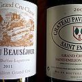 <b>Saint</b> <b>Emilion</b> : Pavie Macquin 2003, et Beauséjour Duffau Lagarrosse 2011