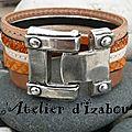 <b>Bracelet</b> multirangs multitextures de cuir naturel, beige, orange pour ce <b>bracelet</b> manchette fermoir crocher riveté !