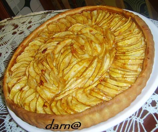 recettes dessert  tarte aux pommes à la crème patissière et cassonade