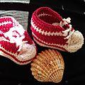Chaussons rouges. baskets pour <b>bébé</b>