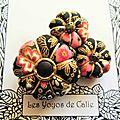 ♥ GREGORIA ♥ Broche textile japonisante fleurs potirons - Les Yoyos de Calie